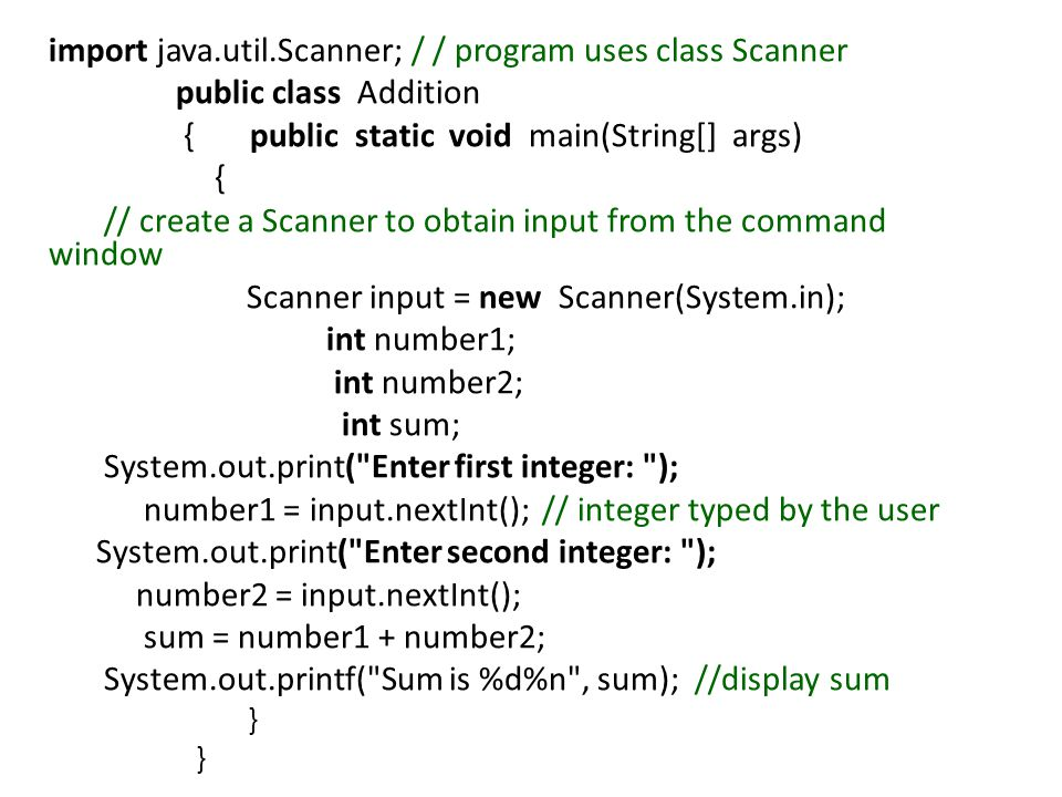 import java.util.Scanner; / / program uses class Scanner