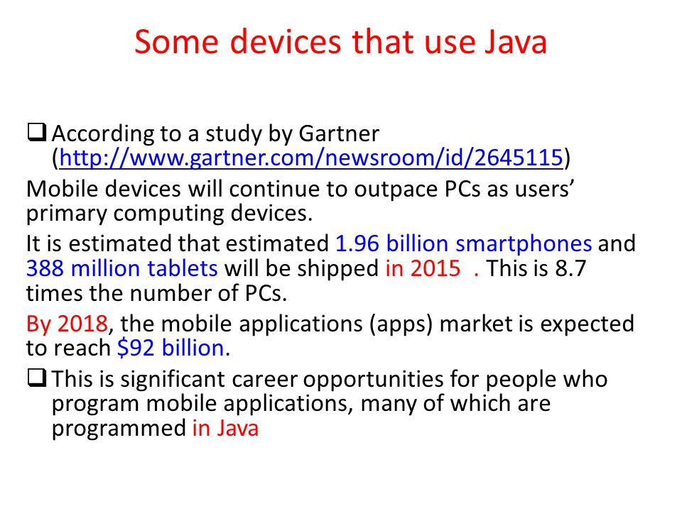 Some devices that use Java