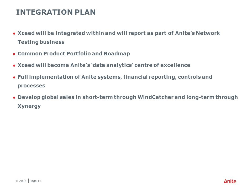 ANITE NETWORK TESTING / Xceed combined SALES NETWORK
