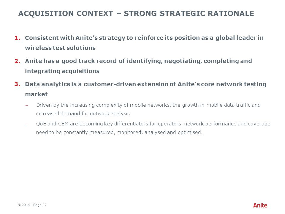 Acquisition context – STRONG STRATEGIC rationale