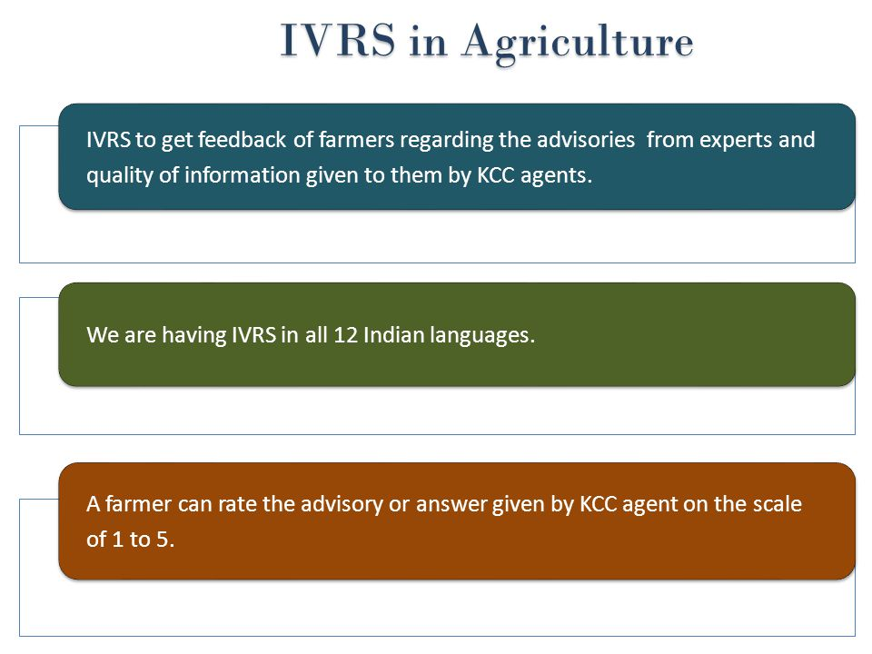 IVRS in Agriculture IVRS to get feedback of farmers regarding the advisories from experts and quality of information given to them by KCC agents.