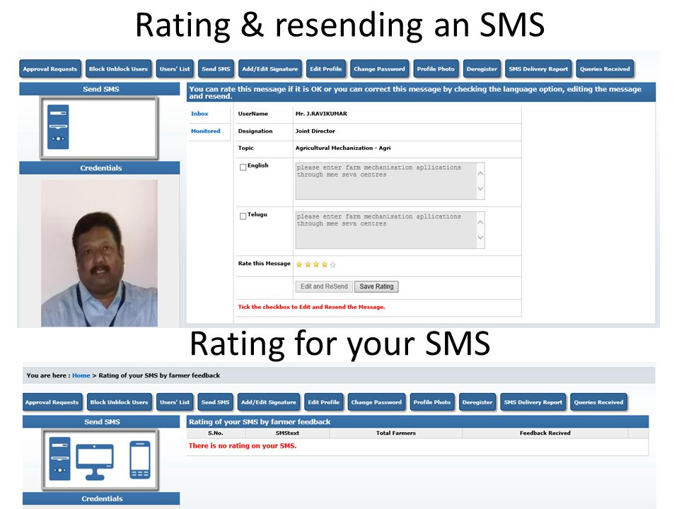 Rating & resending an SMS