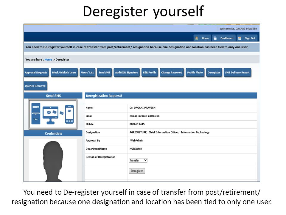 Deregister yourself