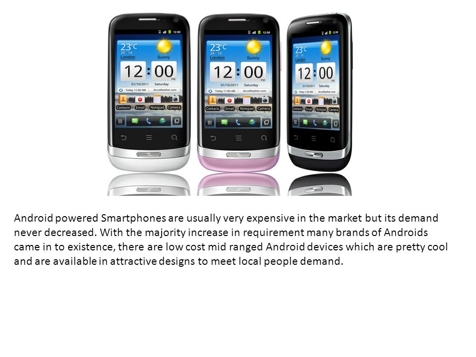 Android powered Smartphones are usually very expensive in the market but its demand never decreased.