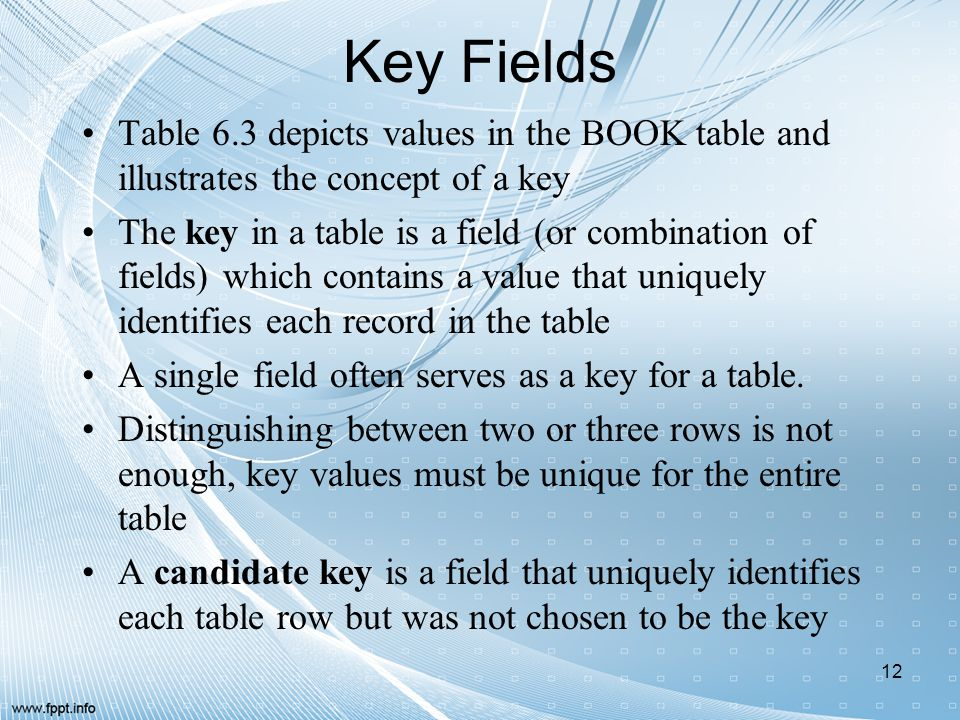 Key Fields Table 6.3 depicts values in the BOOK table and illustrates the concept of a key.