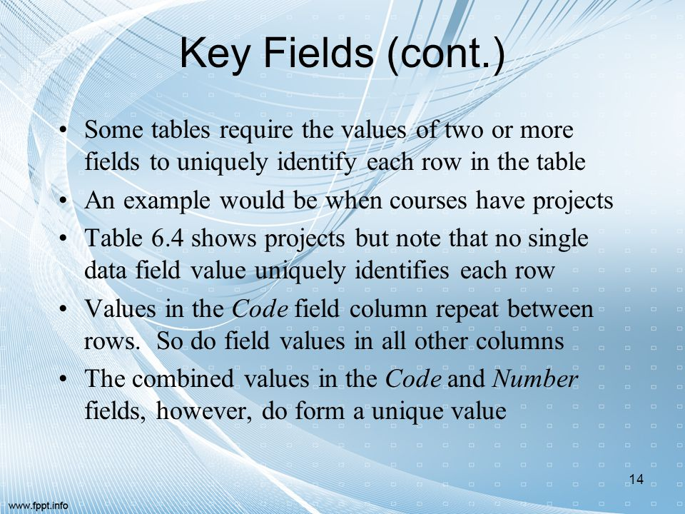 Key Fields (cont.) Some tables require the values of two or more fields to uniquely identify each row in the table.