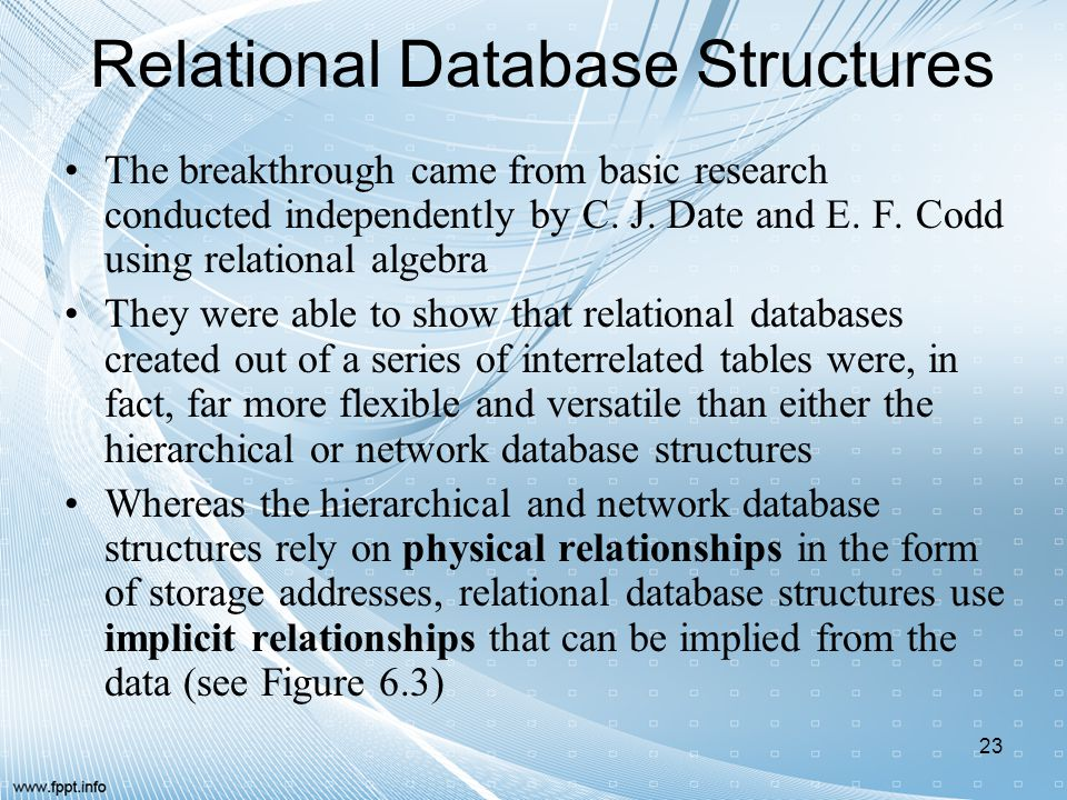 Relational Database Structures