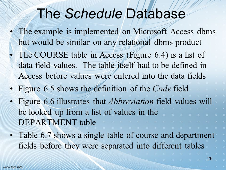 The Schedule Database The example is implemented on Microsoft Access dbms but would be similar on any relational dbms product.