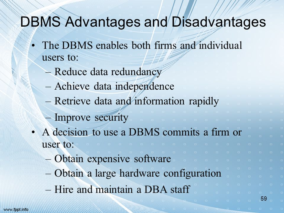 DBMS Advantages and Disadvantages