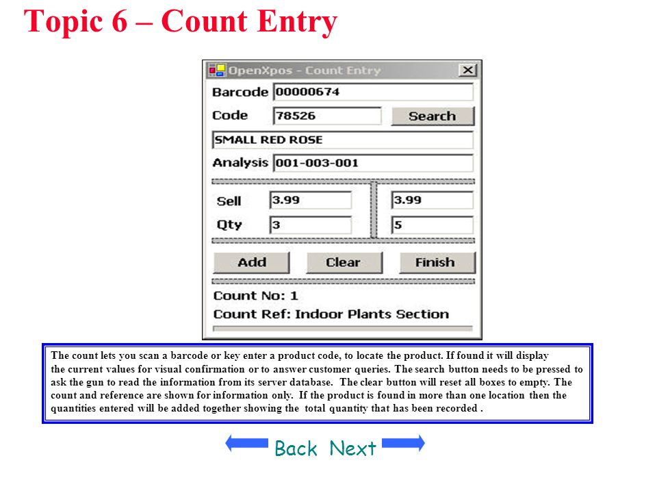 Topic 6 – Count Entry Back Next