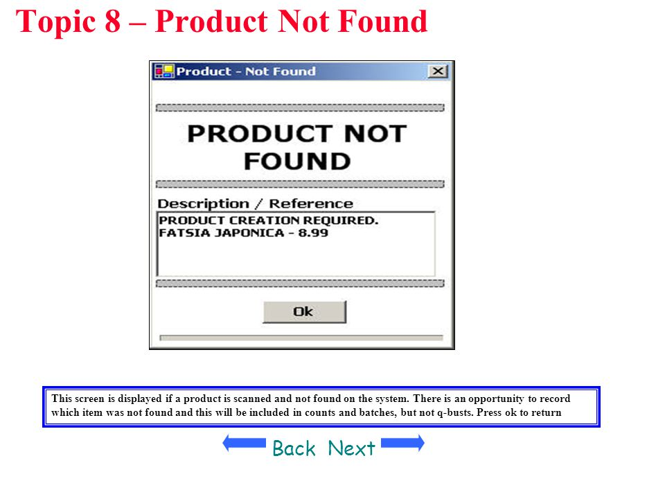 Topic 8 – Product Not Found