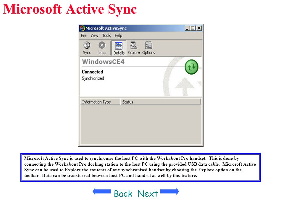 Microsoft Active Sync Back Next