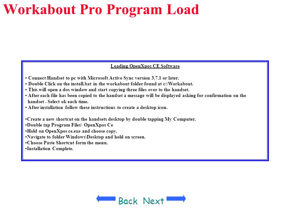 Workabout Pro Program Load