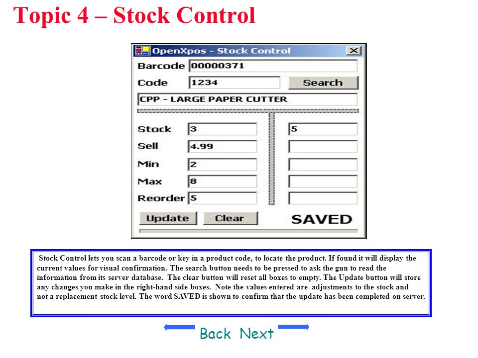 Topic 4 – Stock Control Back Next