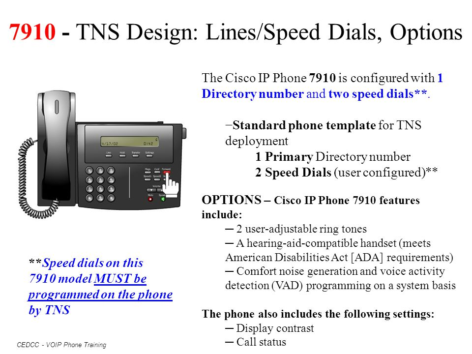 7910 - TNS Design: Lines/Speed Dials, Options