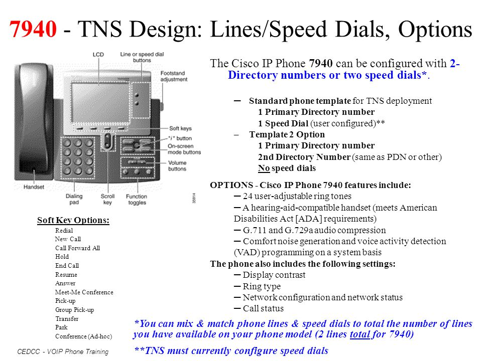 7940 - TNS Design: Lines/Speed Dials, Options