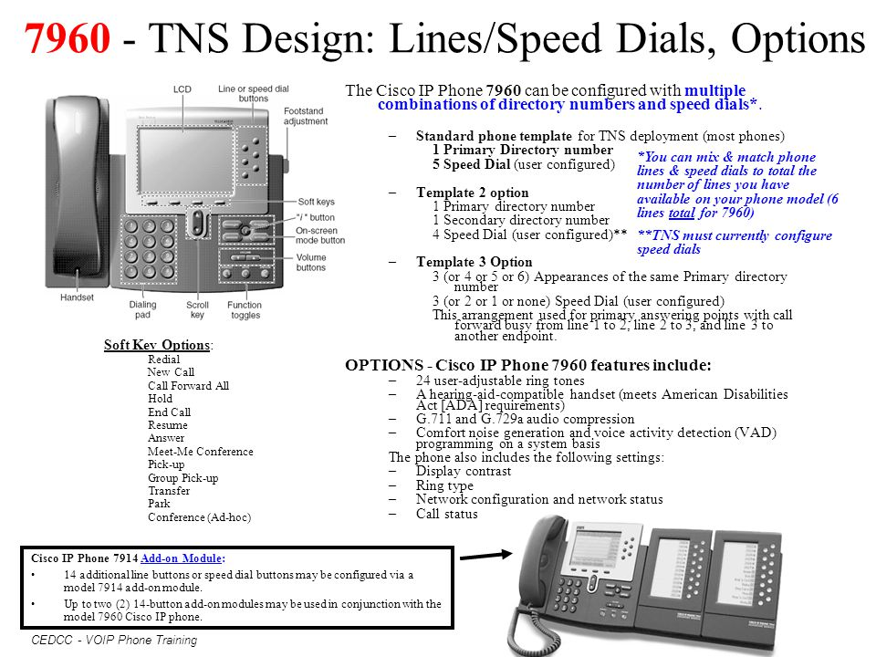 7960 - TNS Design: Lines/Speed Dials, Options