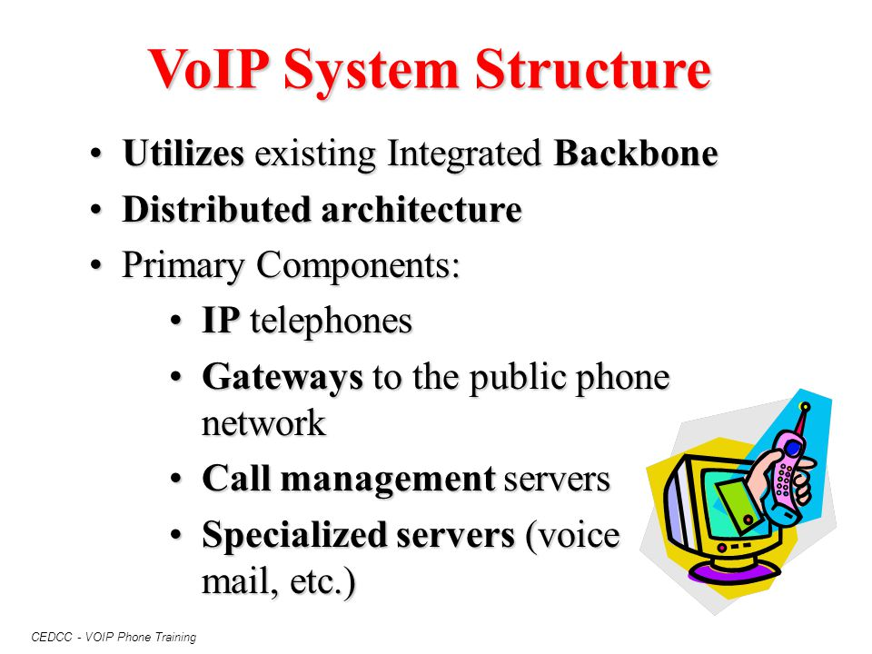 VoIP System Structure Utilizes existing Integrated Backbone