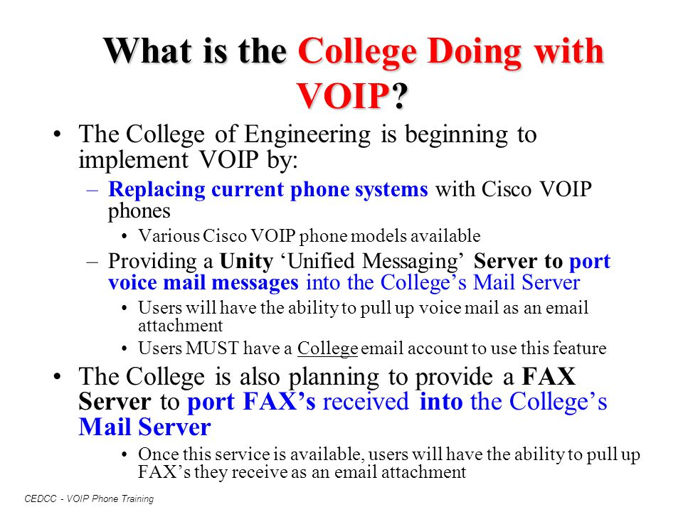 What is the College Doing with VOIP
