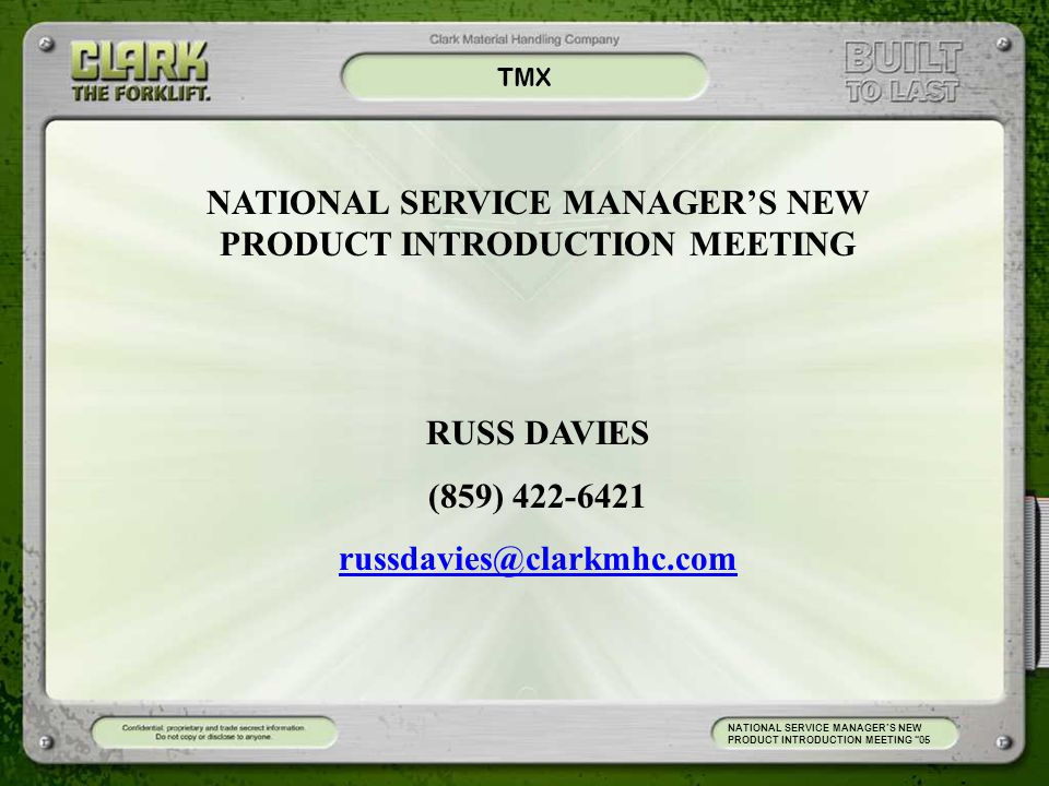 NATIONAL SERVICE MANAGER'S NEW PRODUCT INTRODUCTION MEETING