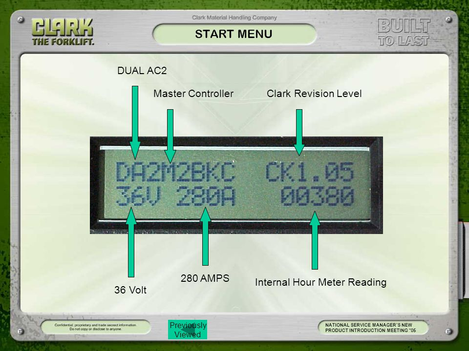 START MENU DUAL AC2 Master Controller Clark Revision Level 280 AMPS