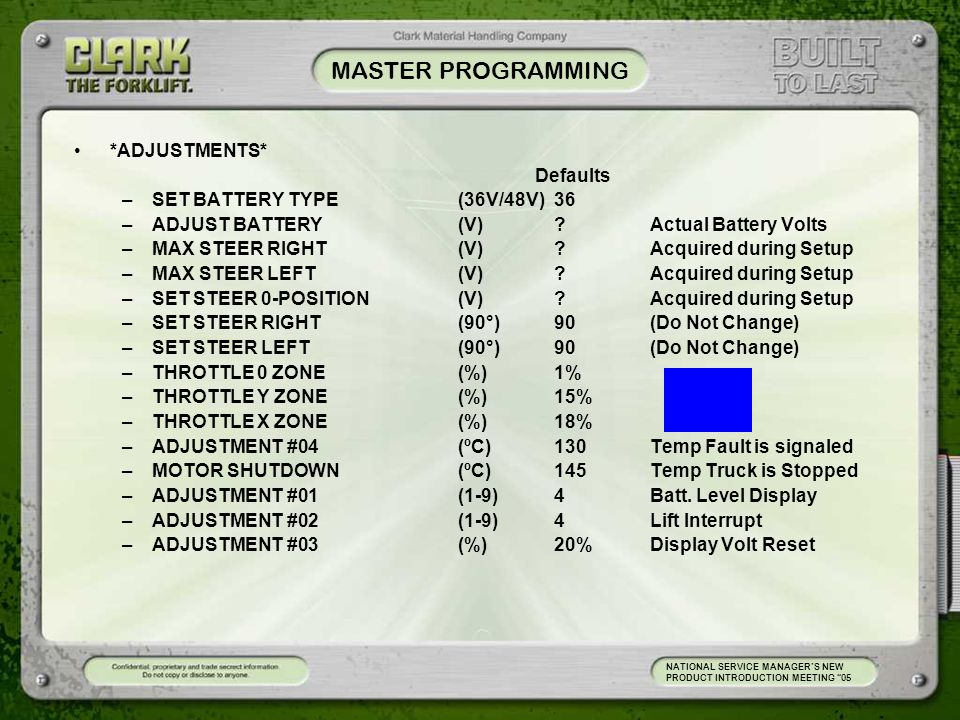 MASTER PROGRAMMING VACC *ADJUSTMENTS* Defaults