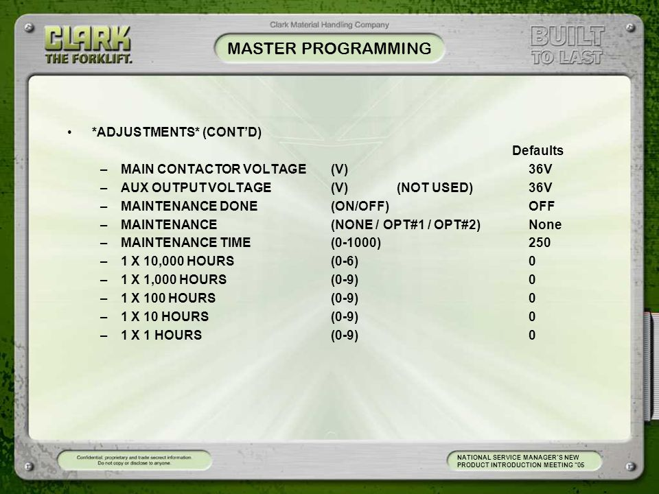 MASTER PROGRAMMING *ADJUSTMENTS* (CONT'D) Defaults