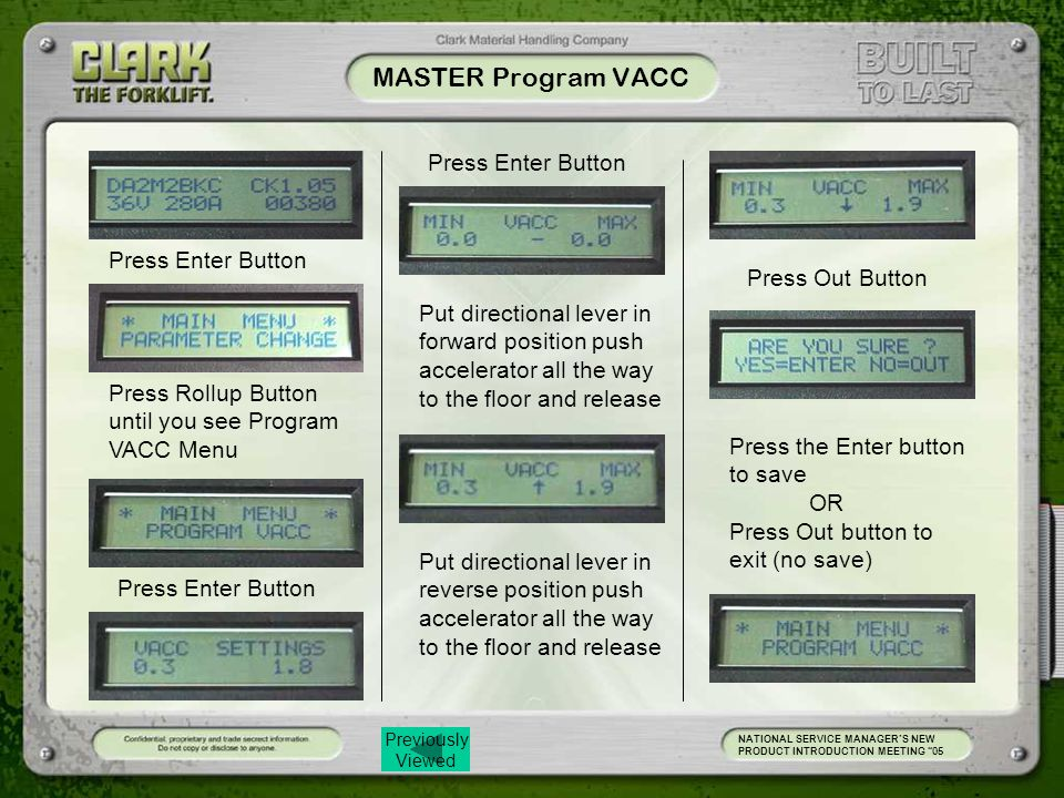 MASTER Program VACC Press Enter Button Press Enter Button