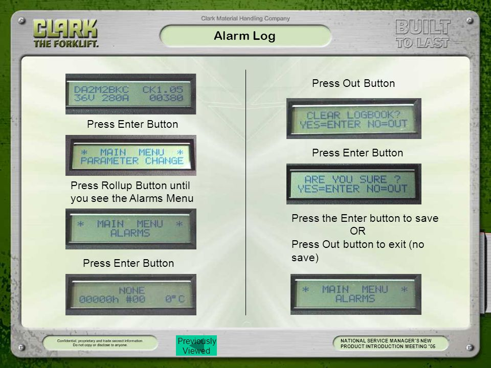 Alarm Log Press Out Button Press Enter Button Press Enter Button