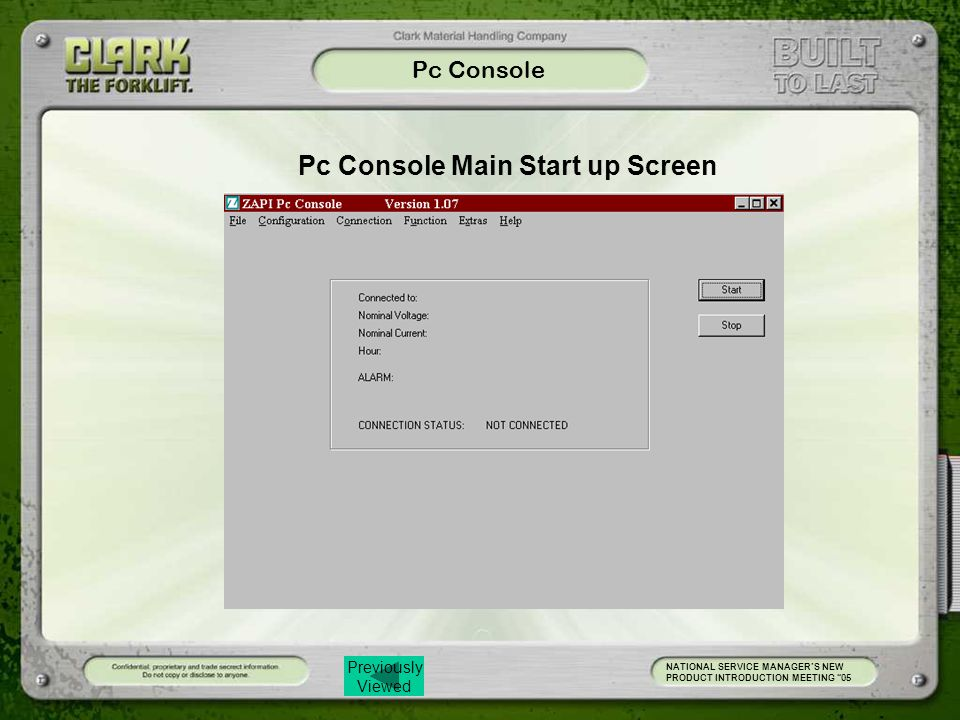 Pc Console Main Start up Screen