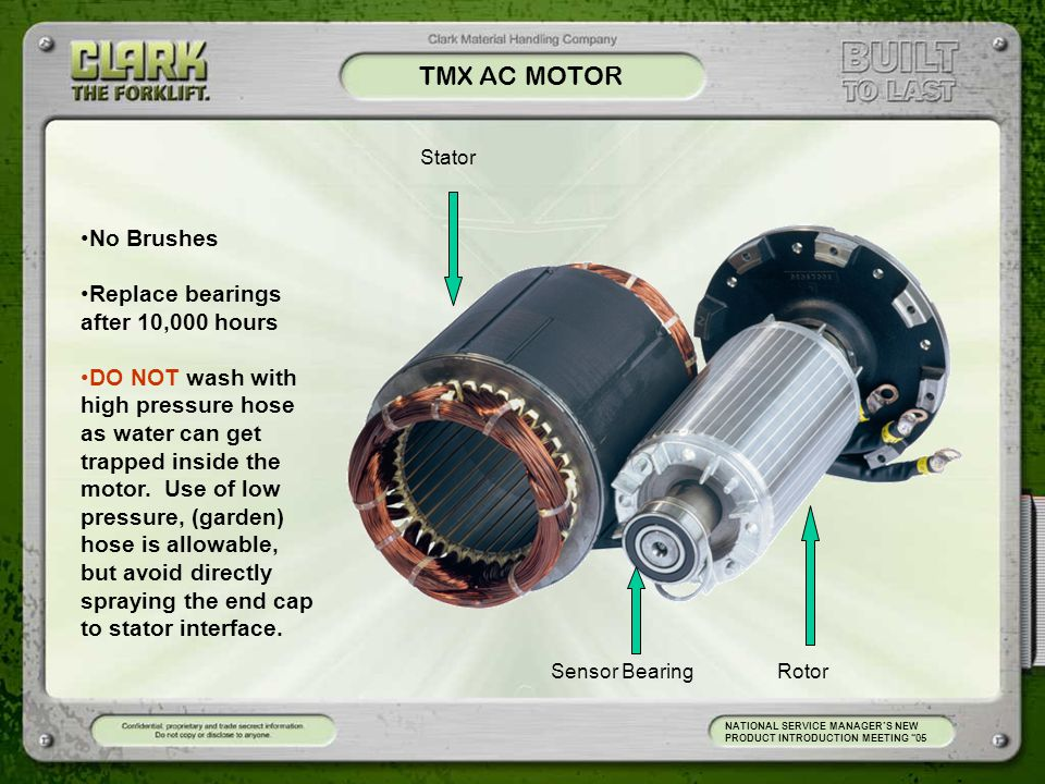 TMX AC MOTOR No Brushes Replace bearings after 10,000 hours