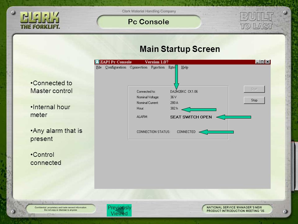 Main Startup Screen Pc Console Connected to Master control
