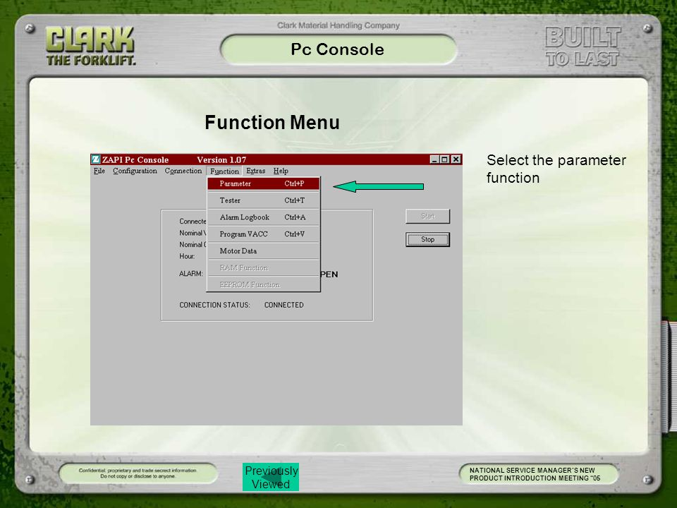 Function Menu Pc Console Select the parameter function