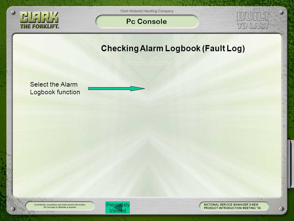 Checking Alarm Logbook (Fault Log)