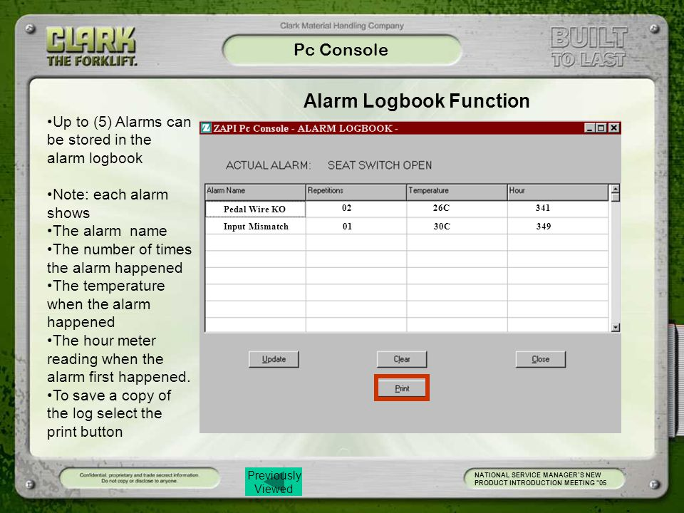 Alarm Logbook Function