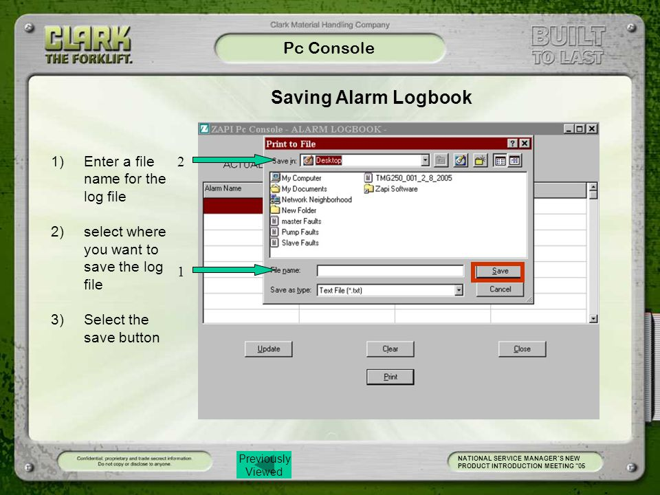 Saving Alarm Logbook Pc Console Enter a file name for the log file