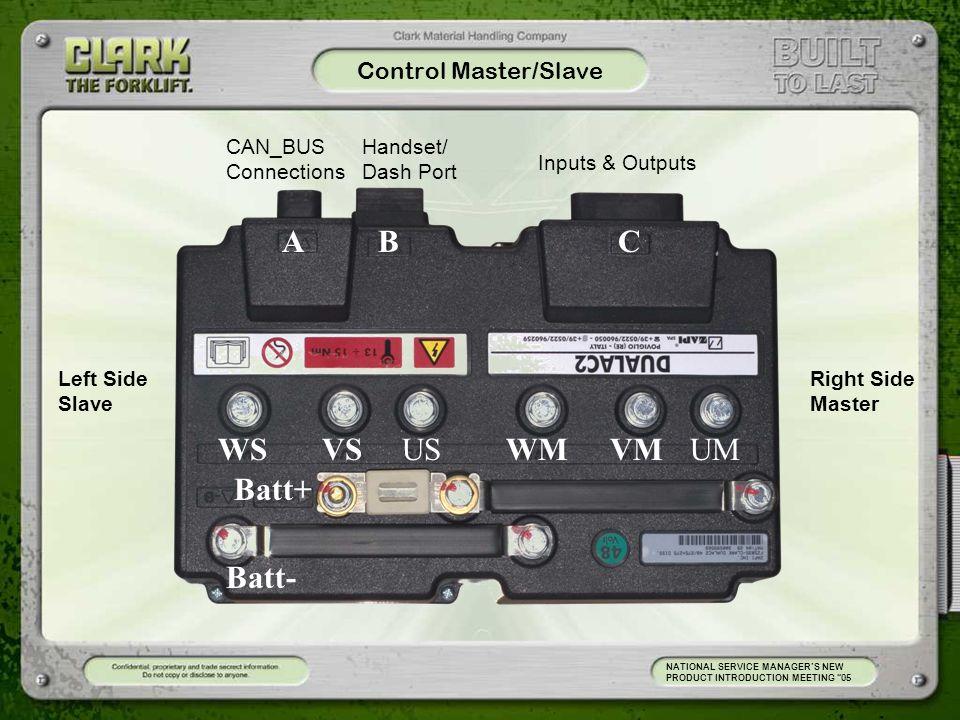 A B C WS VS US WM VM UM Batt+ Batt- Control Master/Slave