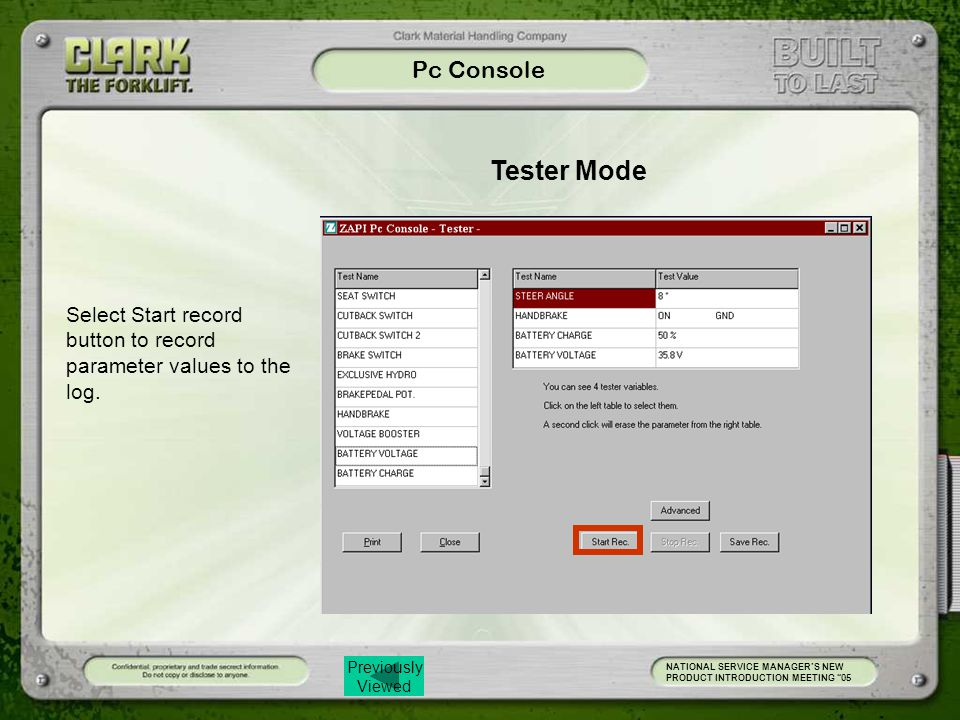 Pc Console Tester Mode. Select Start record button to record parameter values to the log.