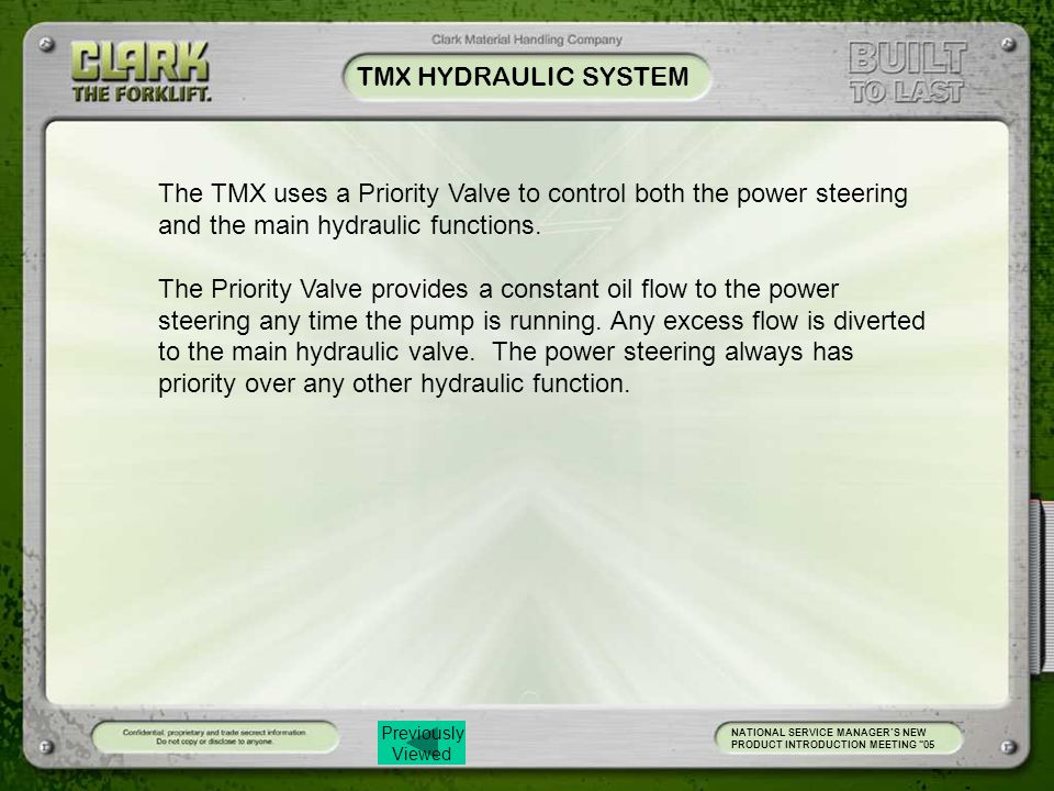 TMX HYDRAULIC SYSTEM The TMX uses a Priority Valve to control both the power steering and the main hydraulic functions.