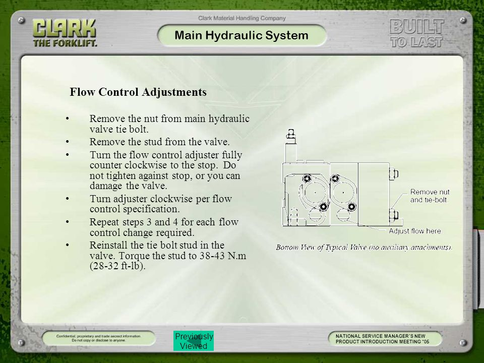 Main Hydraulic System Flow Control Adjustments