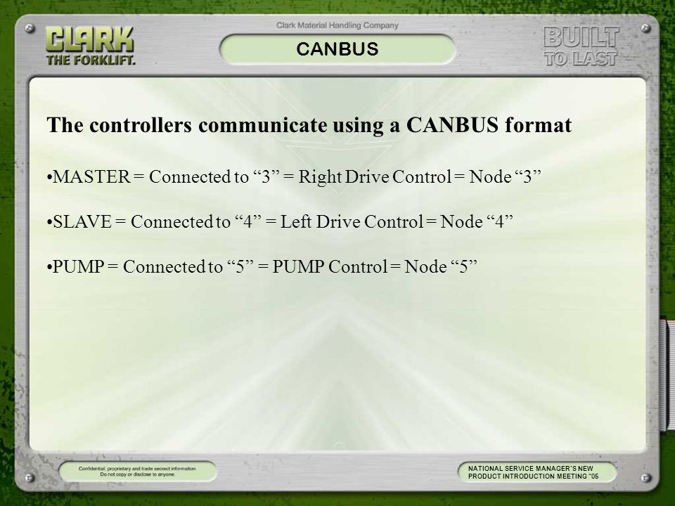 The controllers communicate using a CANBUS format