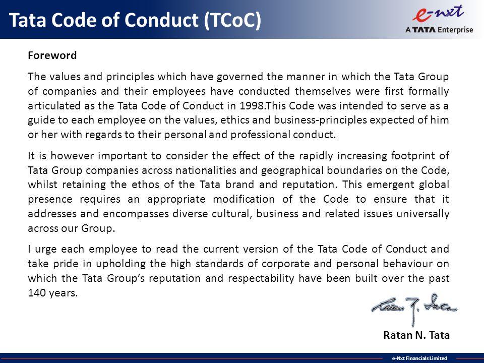 Tata Code of Conduct (TCoC)