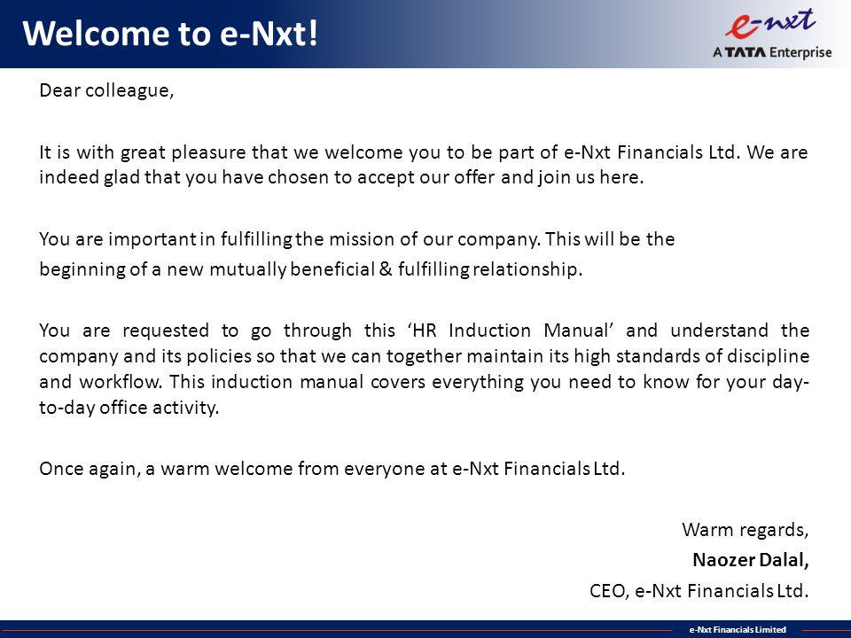 Welcome to e-Nxt! Dear colleague,