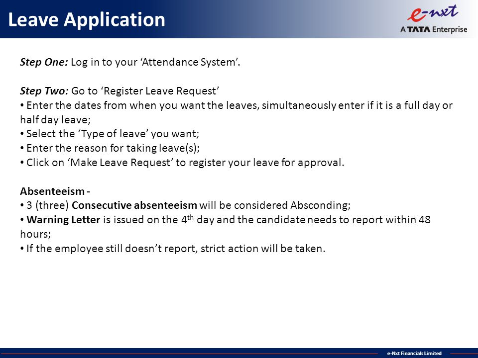 Leave Application Step One: Log in to your 'Attendance System'.