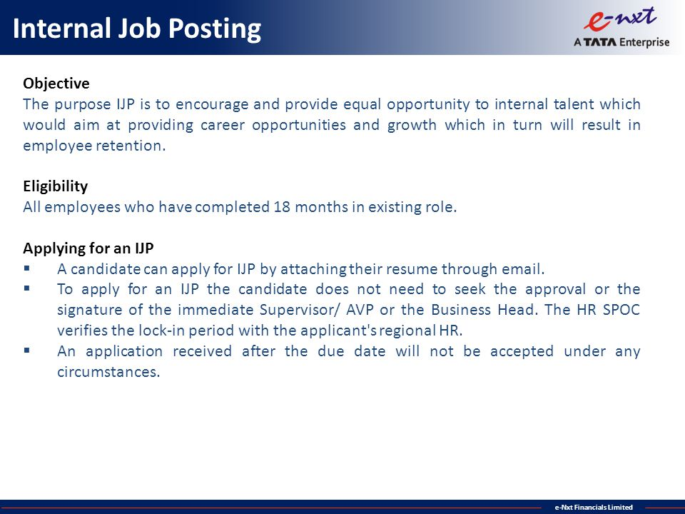 Internal Job Posting Objective