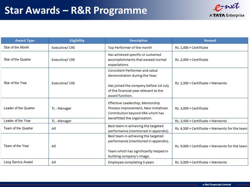 Star Awards – R&R Programme
