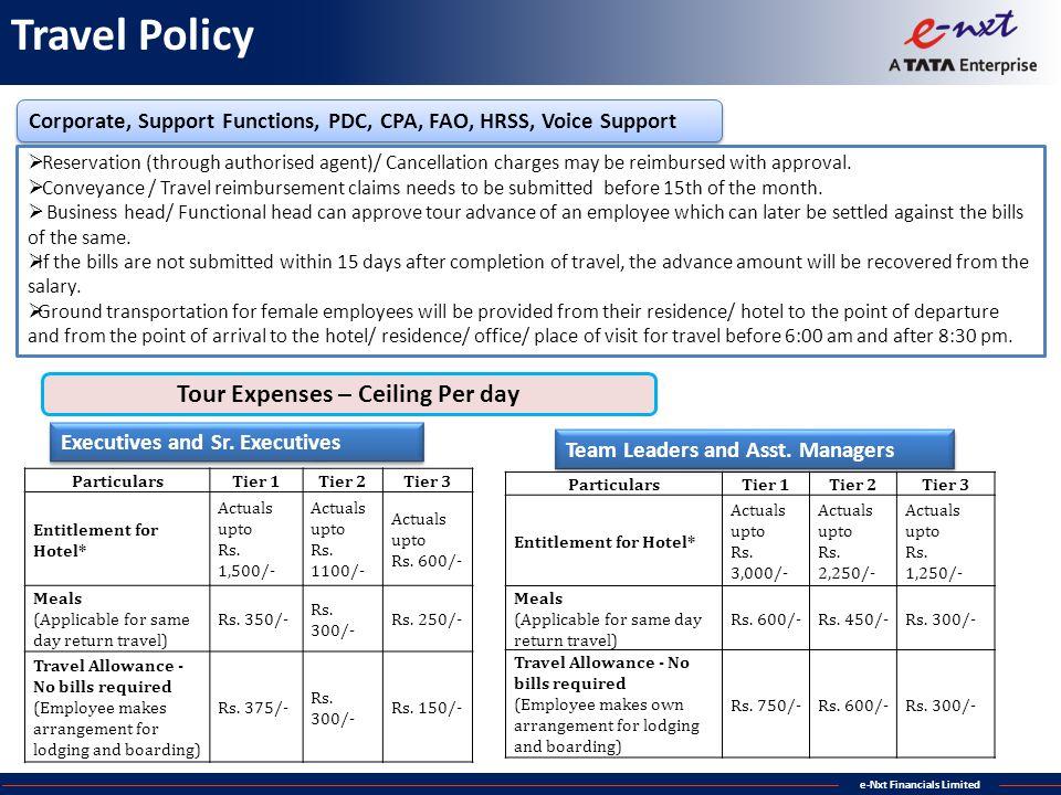 Tour Expenses – Ceiling Per day