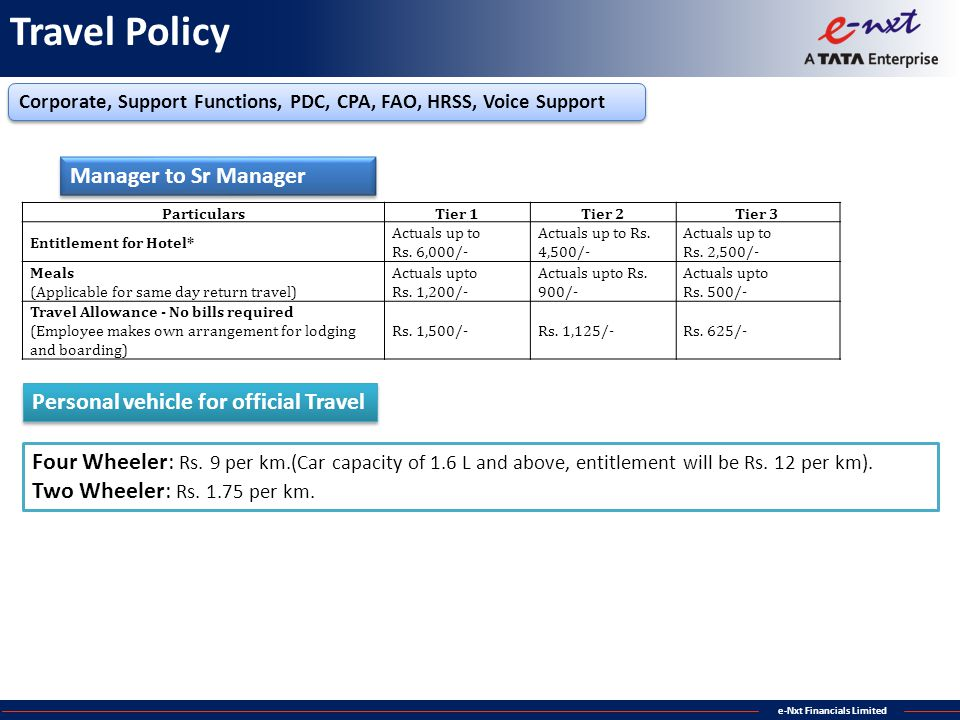 Travel Policy Manager to Sr Manager
