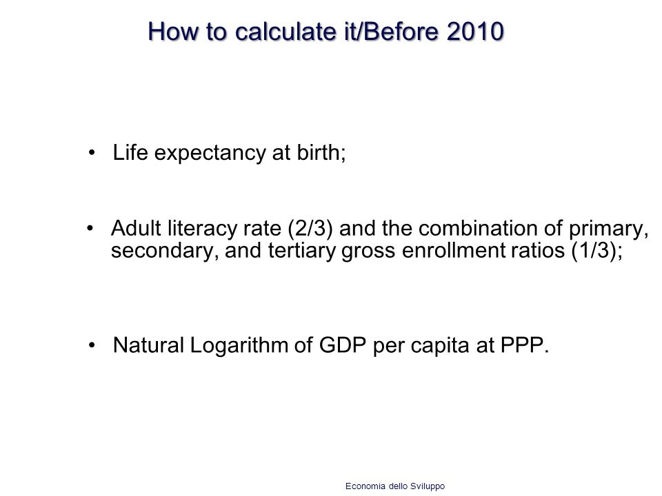 How to calculate it/Before 2010