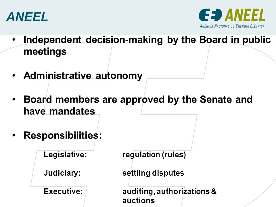 ANEEL Independent decision-making by the Board in public meetings